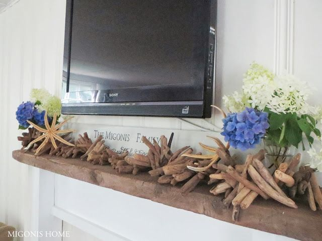 Beachy Mantle With Hydrangeas Starfish And Driftwood