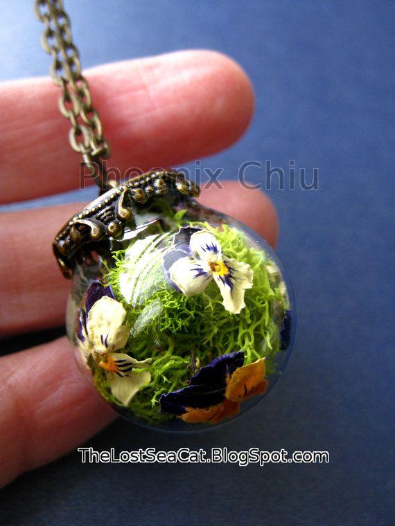 Collier pensée vraie fleur bijoux Pansy bijoux Violet collier