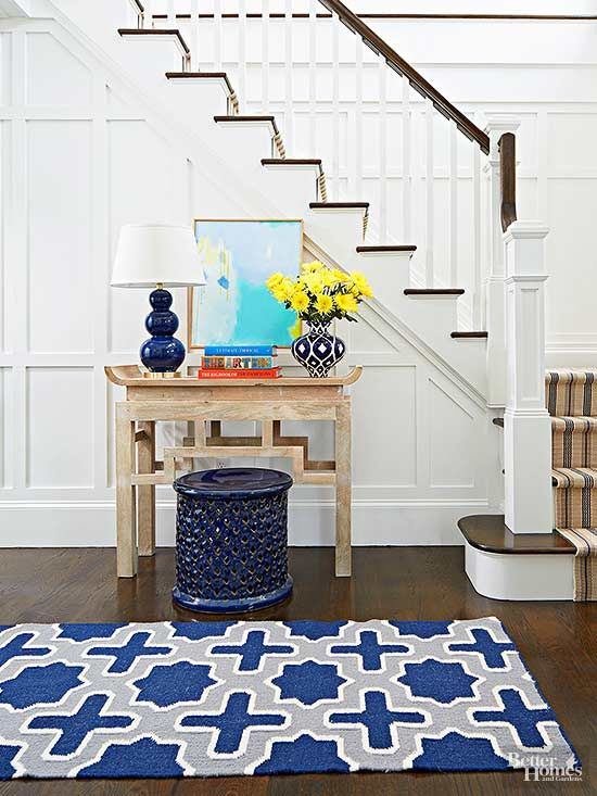 We know it's more expensive to buy the big rug. But the postage-stamp look really brings down a room. Luckily, there are great choices out there at a wide variety of price points. In the dining room, measure the width and length of your dining room table and add 18-24 inches to each of the four sides to allow extra room for the chairs (include your table leaf in the calculation). For most spaces, that means a 5x8-foot rug is too small, so look for something between 6x9 and 9x12 feet./