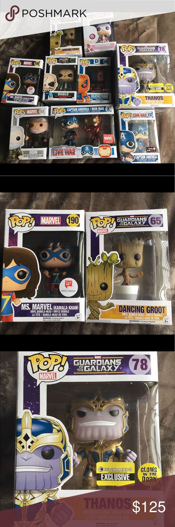 DC and Marvel Funko POP Figures All figures are in good condition and available to be sold as a lot for 125 (price firm) or let me know if you would like to buy separately. Ms. Marvel, Captain America (GS exc.), and Gwenpool are all MINT CONDITION BOXES. Dancing Groot, Thanos, Diablo, and Odin are MINT ASIDE FROM SMALL DENT OR SCRATCH ON ONE PANEL. Captain America and Iron Man 2-pack has LIGHT WEAR. Deathstroke has MODERATE WEAR (see photo). Funko POP Other