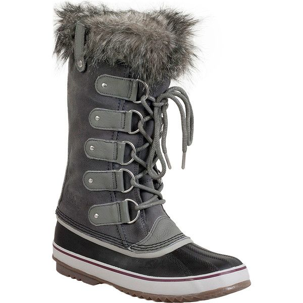 Sorel Joan of Arctic Women's Winter Boot ($180) ❤ liked on Polyvore featuring shoes, boots, grey, grey winter boots, tall grey boots, waterproof winter boots, laced up boots and tall lace up boots