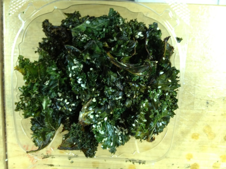 kale chips, olive oil,salt,pepper,sesame,convection oven 312f for 18 ...