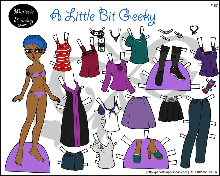 My eyeglass wearing, blue haired printable paper doll with lots of different dresses. Also, I love her tattoo.