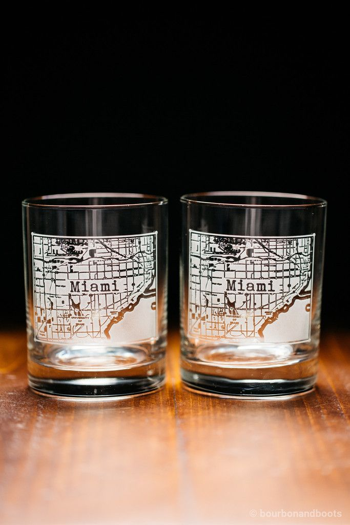 Miami College Town Rocks Glass Set $45