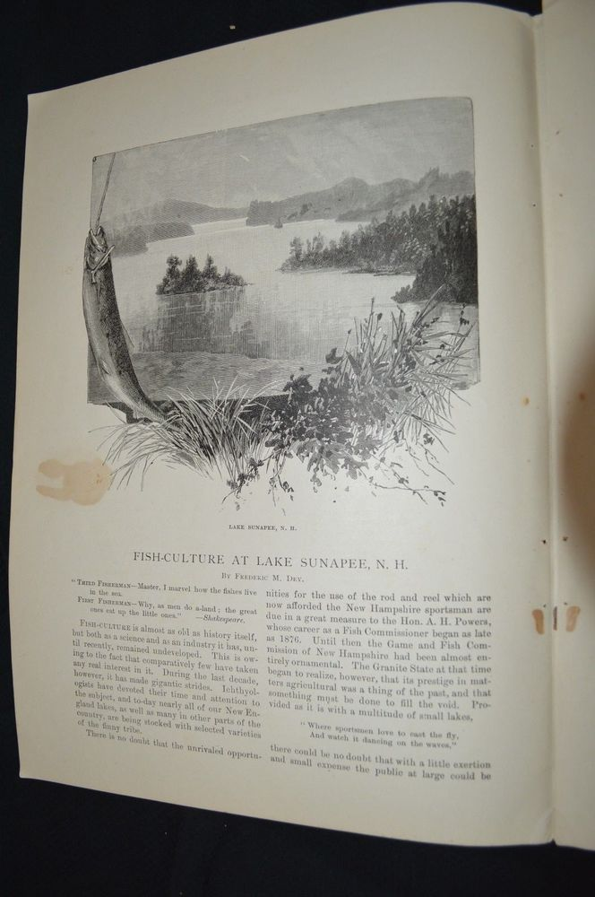 1890 Fish Culture At Lake Sunapee, NH by Frederic M. Dey - Historic Article