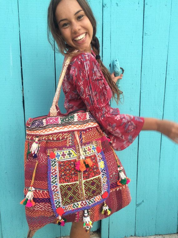 Antique Indian tode  embroidery big  boho  bag