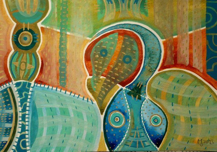 Totemový předek Obraz pochází z nové kolekce obrazů vytvořených kombinovanou technikou, kterou jsme si upravila sobě na míru. Od kresby oblíbenými akvarelovými pastely jsem došla ke klasickému akvarelu. Akvarelové barvy jsou zkombinovány s akvarelovým pastelem, který po nastrouhání a rozpuštění ve vodě slouží jako běžné akvarelové barvy, pouze je sytější a ve ...