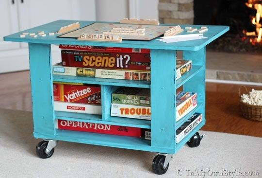 Turn an old coffee table into a Rolling Table - there when you need it - out of the way when you don't.