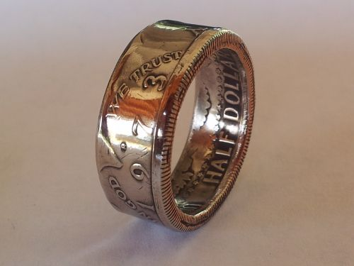 Kennedy Half Dollar ring. Made from actual half dollars and you can pick the coin's year and if heads or tails face out.