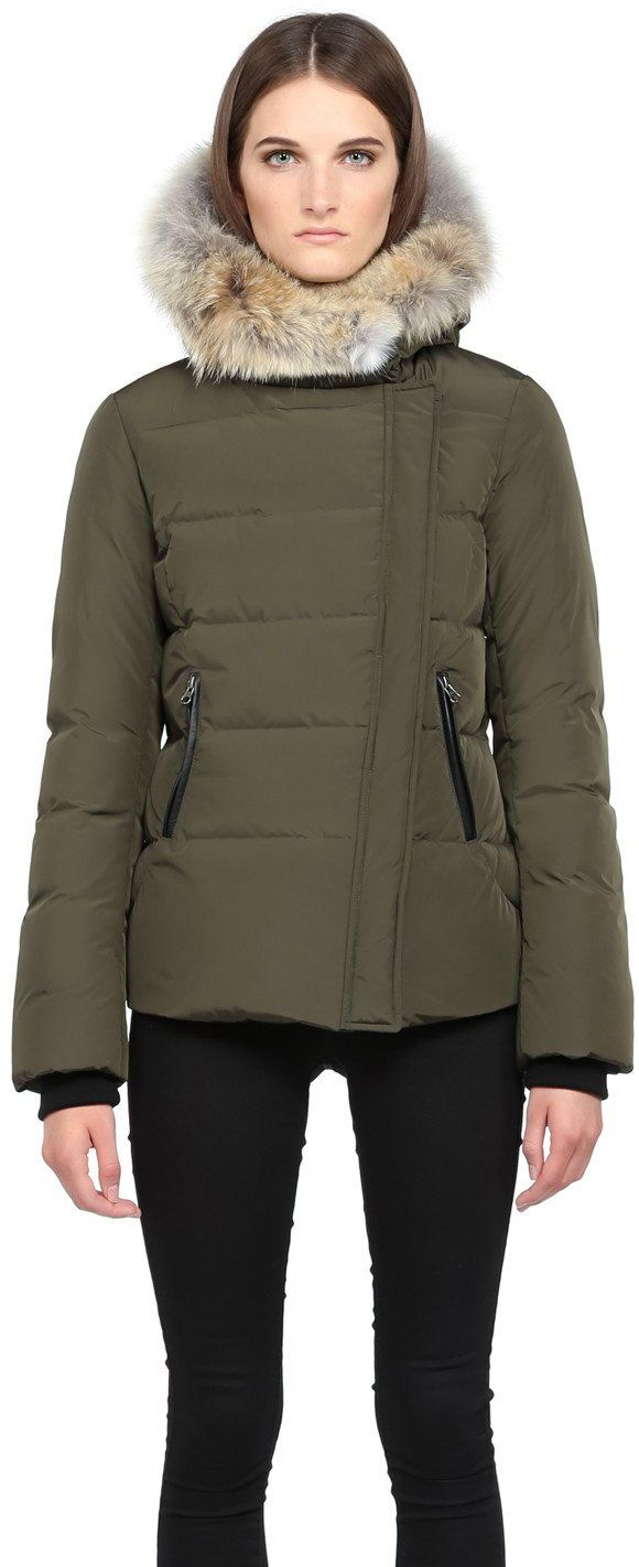 Mackage Ladies Down coat with coyote fur on hood ADI-Army. Water-resistant. Professional fur clean. By Mackage; imported. Front zip-welt pockets. Long sleeves.