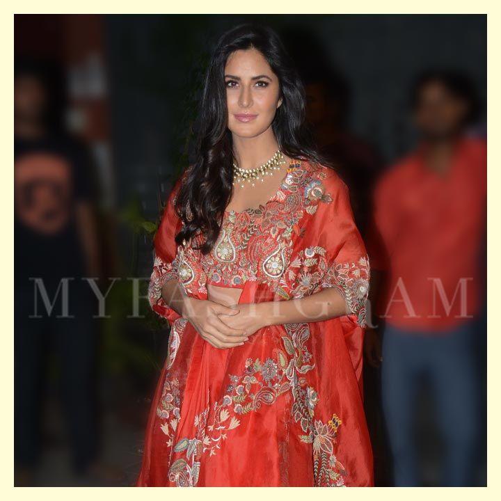 Katrina Kaif in Anamika Khanna, Arpita Khan Diwali Party 2017, MyFashgram