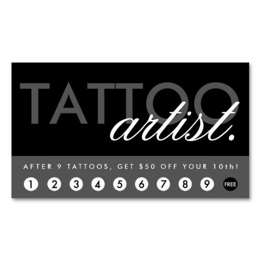 95 best tattoo artist business cards images on pinterest business tattoo artist rewards program business card flashek Images