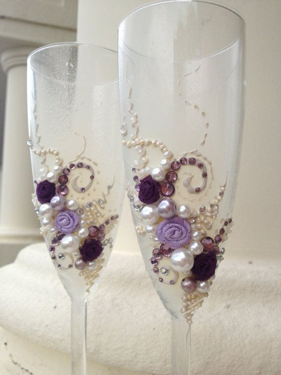 Wedding toasting flutes, elegant champagne glasses hand decorated with ivory, purple & lavender crystals and pearls