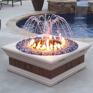 A fire pit with a fountain....love fire & water!  Would love this in all brick or copper.