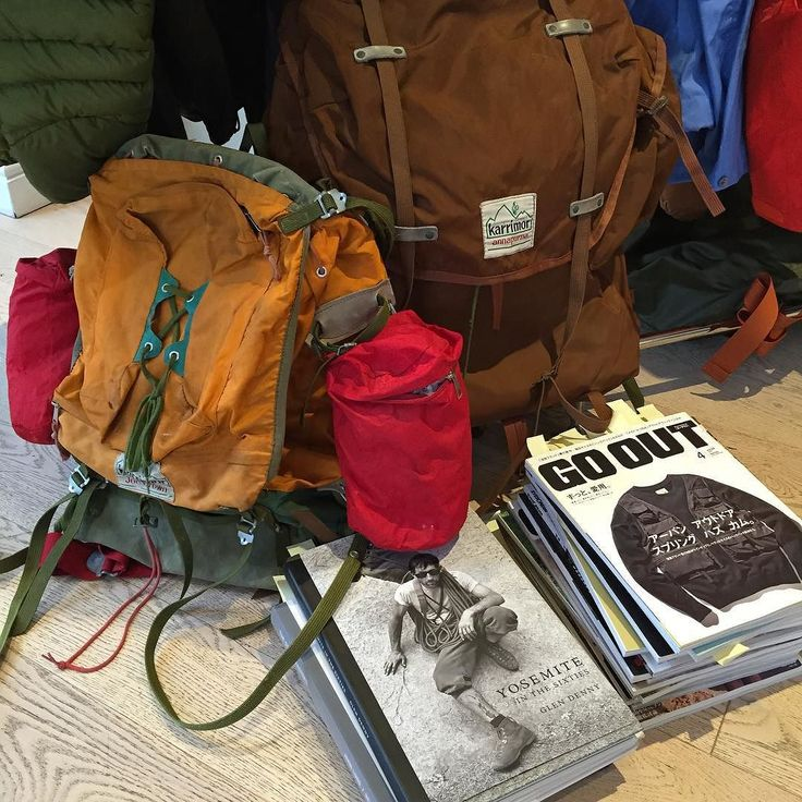Picture of some of the inspiration for AW16. Of course we are always inspired by the original Karrimor rucksacks with nylon and metal frames from the 60s and 70s in collaboration with famous British mountaineers. We also find inspiration for the books featured Yosemite in the sixties and GO OUT magazines. #NigelCabourn #Karrimor #Inspiration #60s #70s #AW16 #K100 by nigel_cabourn