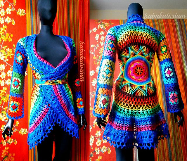 Crochet Coat - Aztec Sun Mandala And Granny Squares by babukatorium, via Flickr  WOW! This artist's work is stunning!