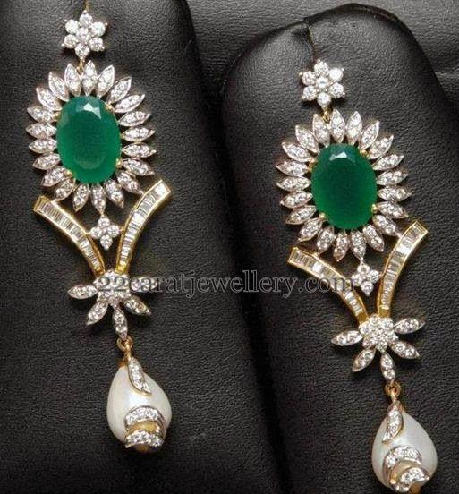 Jewellery Designs: Diamond Emerald Drops Earrings