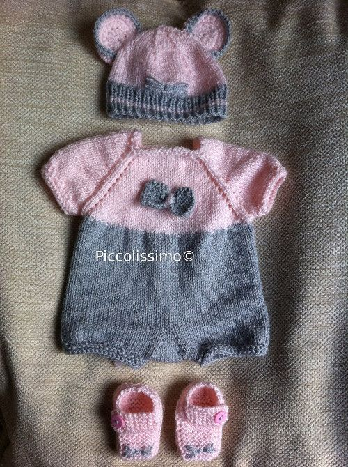 """Get this beautiful mouse romper set knitting pattern NOW! It will fit a 16"""" baby reborn baby ooak https://www.etsy.com/listing/158492573/knitting-pattern-for-a-16-mouse-romper?ref=v1_other_1 #knitting pattern #knit for preemie #knit for baby #mouse set #piccolissimo"""