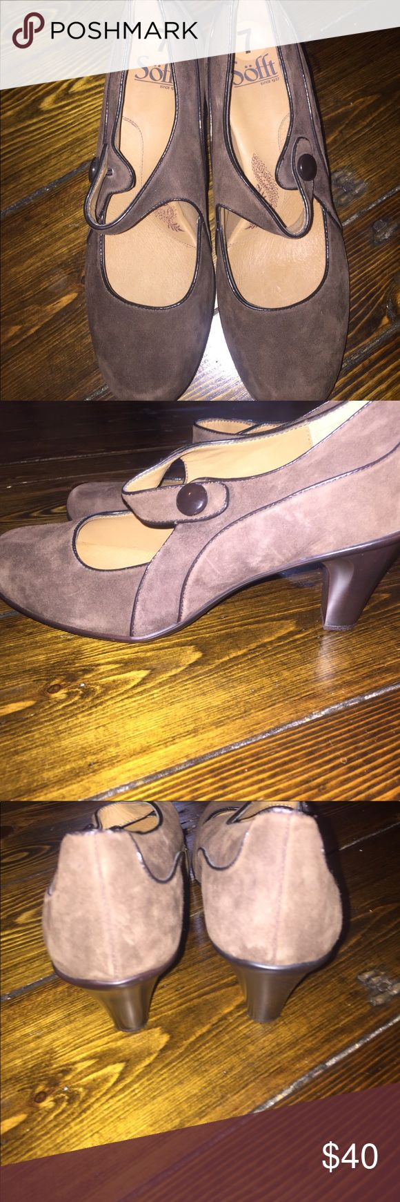 Brown Sofft shoes EUC!!! Gorgeous chocolate brown suede Mary Jane style shoe. Dark Brown patent leather trim. With a brown button. Worn once. Very clean. Sofft brand. Sooo comfy. Very similar to Born brand. I have some Born brand clogs size 7 listed in my closet also! Bundle & save!!! Sofft Shoes Heels
