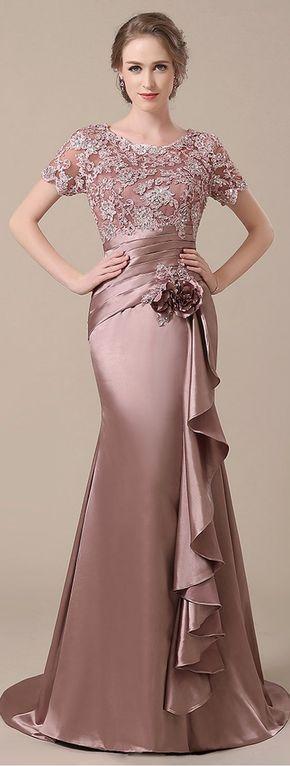 Elegant Stretch Satin Scoop Neckline Lace Mermaid Mother of The Bride Dresses