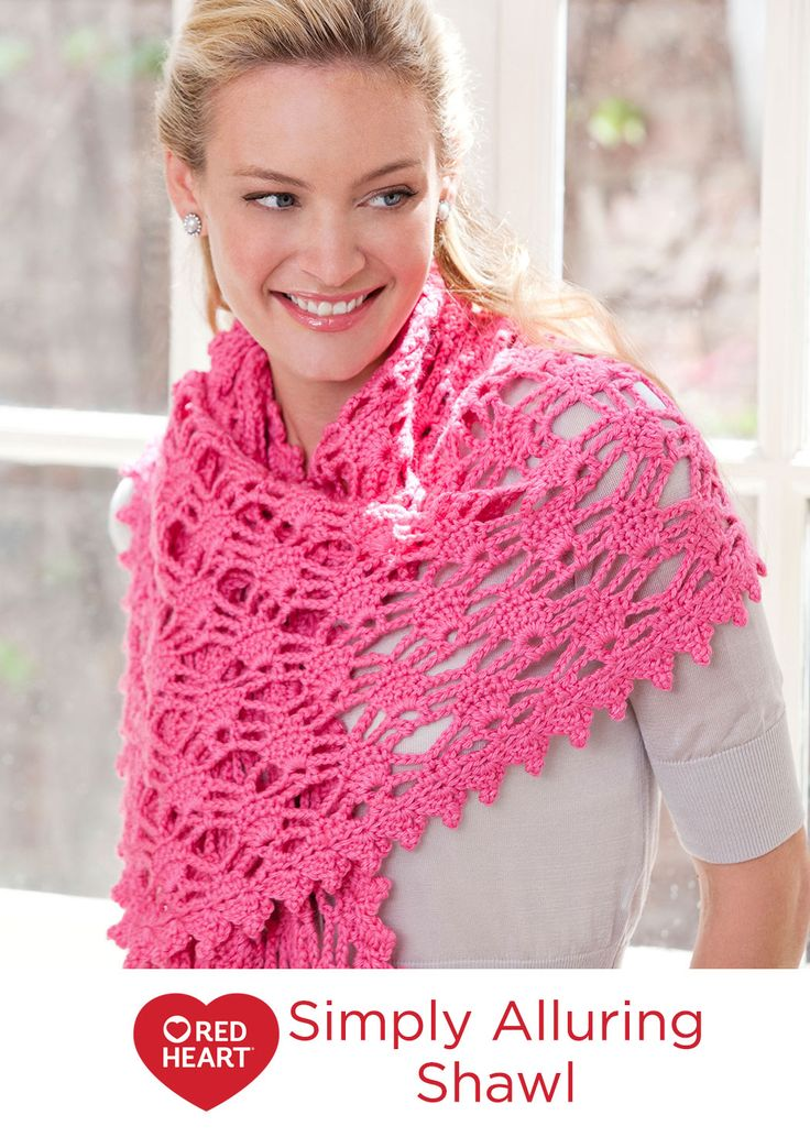 Simply Alluring Shawl Free Crochet Pattern in Red Heart Yarns -- Wrap yourself in a swirl of gorgeous color for a simply wonderful way to complete your look while being comfortable. Since you crochet this wrap in worsted weight yarn, it won't take as long to make as you would think.