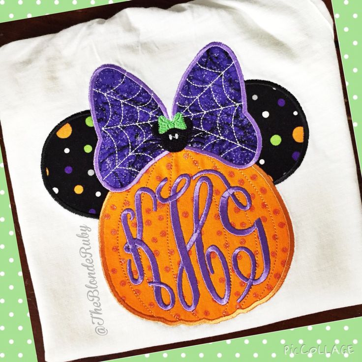 Monogrammed Minnie pumpkin. Disney Halloween. Mickeys Not So Scary Party shirt @TheBlondeRuby