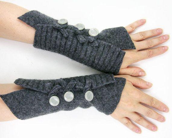 gray arm warmers fingerless mittens  wrists warmers arm cuffs
