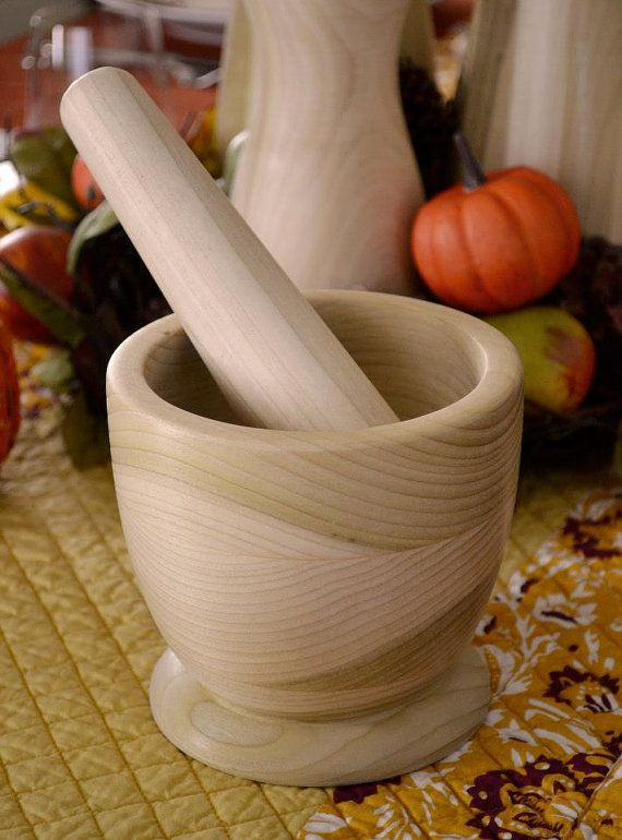 Rustico Wood Mortar and Pestle Set by JMPWoodTurning on Etsy