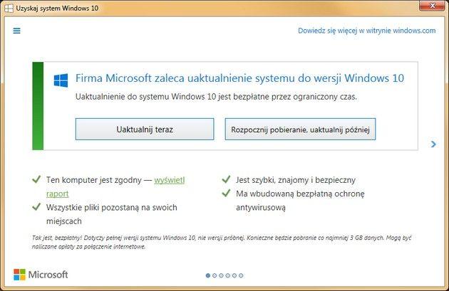 Agresywna polityka Microsoftu - Windows 10 z automatu