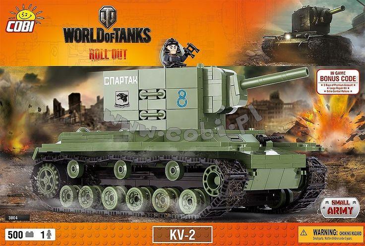 KV-2. Radziecki czołg ciężki z okresu II wojny światowej. Z przodu kadłuba czołgu znajdował się przedział kierowania, w środku przedział bojowy, a z tyłu przedział silnikowy. Pojazd charakteryzował się również zębatymi kołami z tyłu kadłuba oraz z 6 podwójnymi kołami jezdnymi umieszczonymi po każdej stronie, zawieszonymi na wahaczach wleczonych.