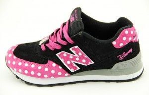 New Balance US574M1 quot Disney Minnie quot Womens Trainers Pink Black White Dots Outlet UK London