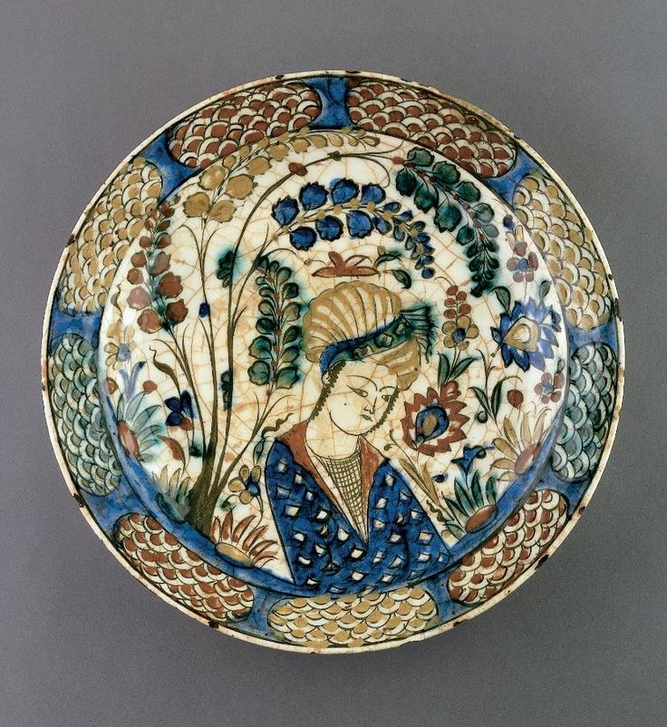 Plate with Youth in Landscape Setting. Safavid period, early 17th century. Unknown | Iran | Cincinnati Art Museum