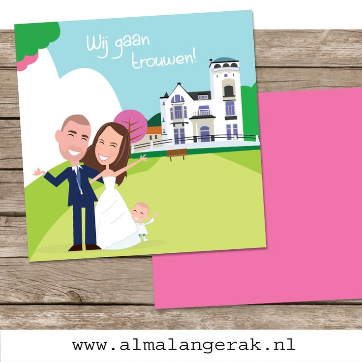 #trouwen #jachtslot #mookerheide #landgoed #trouwkaarten #cartoon