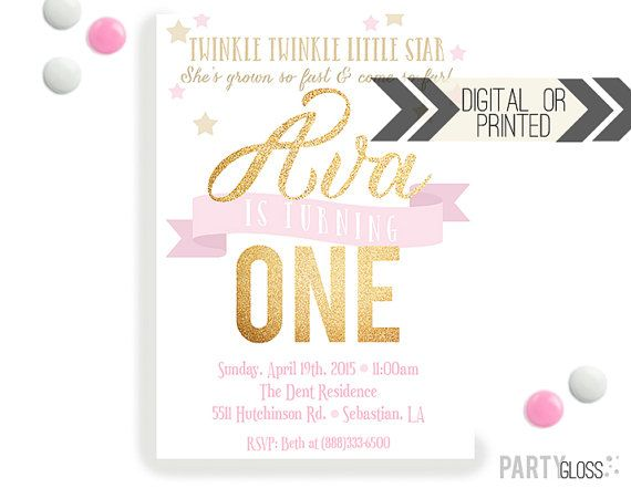 Twinkle Star Party Invitation  Digital or Printed  by PartyGloss