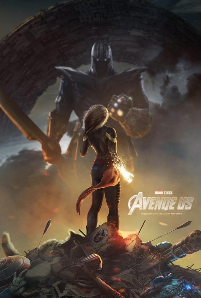Captain Marvel impressionnante face à Thanos sur un poster de #Avengers4 fait par les fans !