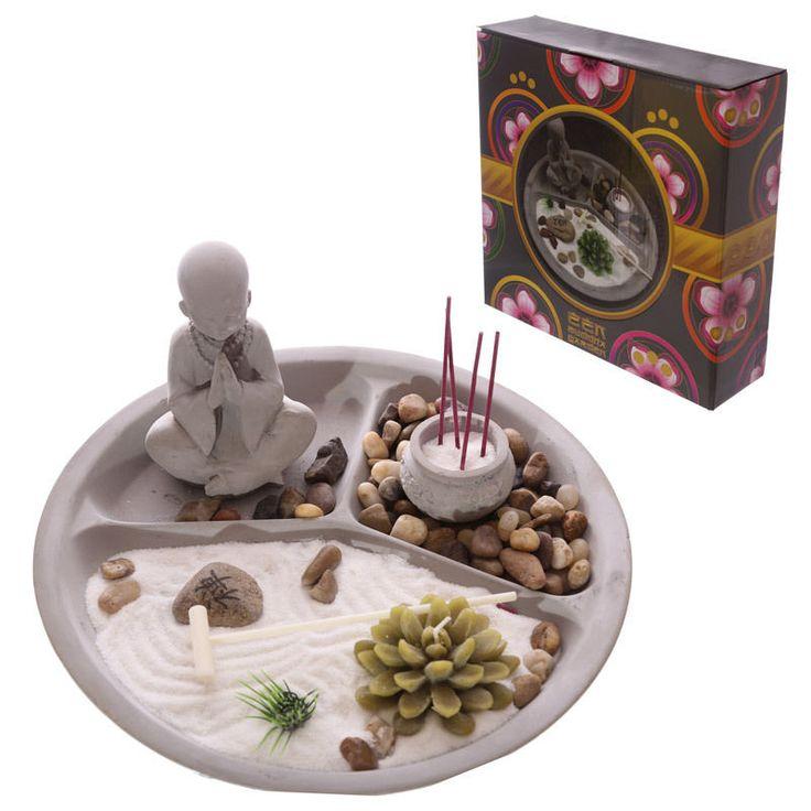 Round Zen Garden Buddha Kit Candle Incense Rake Ornament Figurine New Gift Ideas