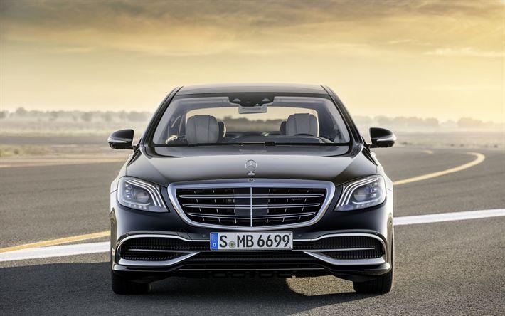 Descargar fondos de pantalla Mercedes-Maybach clase S, 2017, S650, vista de Frente, coches de lujo, negro S-class, coches alemanes, Maybach