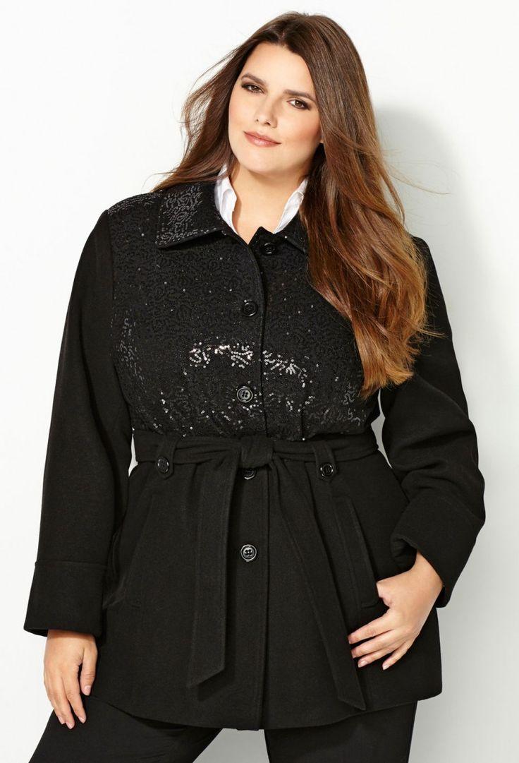 Plus Size Winter Coats A Line Sequined Black Button