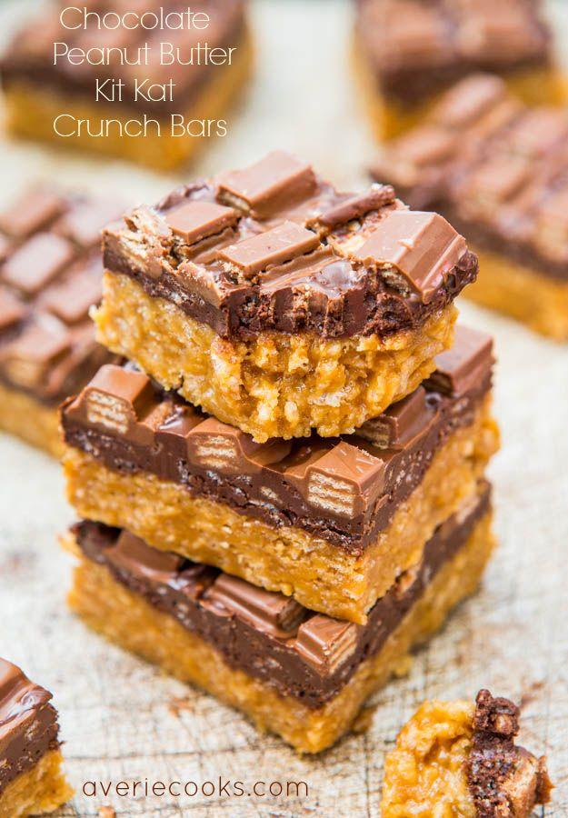 Chocolate Peanut Butter Kit Kat Crunch Bars (no-bake)