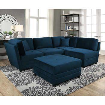 Leyla 5-piece Fabric Modular Sectional Living Room Set - Blue