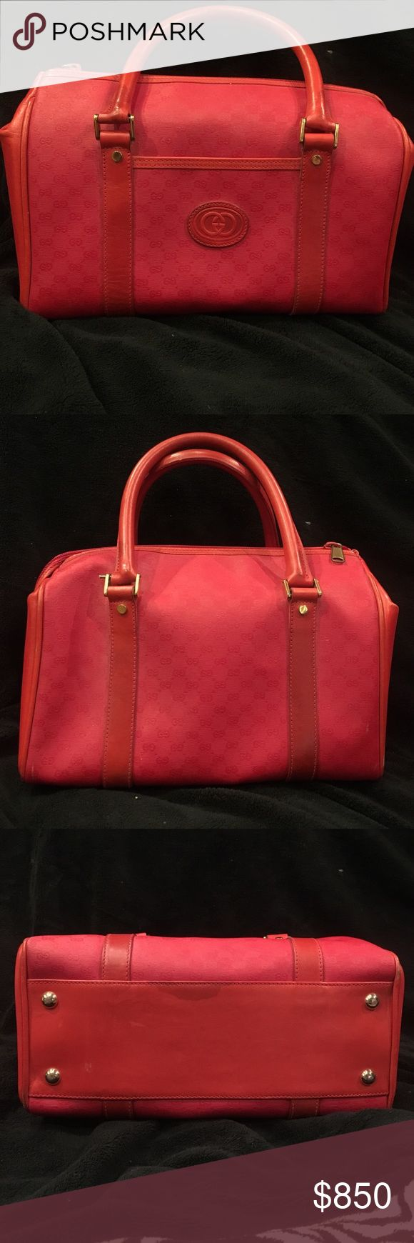 Gucci purse Authentic Gucci top handle handbag. Red. Vintage! 1980s! Great condition. Inside is a little dirty as pictured. No rips or tears! Classic Gucci! No trades. No dust bag. Price is firm! Purchased at the Gucci Store on Michigan avenue in Chicago! Gucci Bags Totes