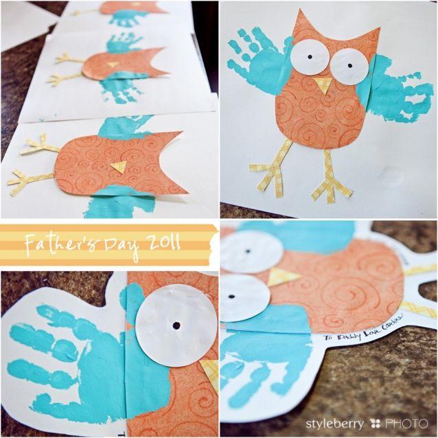 Owl w handprints