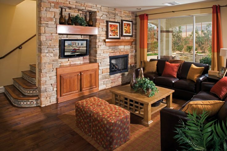 Lots of texture in this living room including a brick wall - Wall texture ideas for living room ...