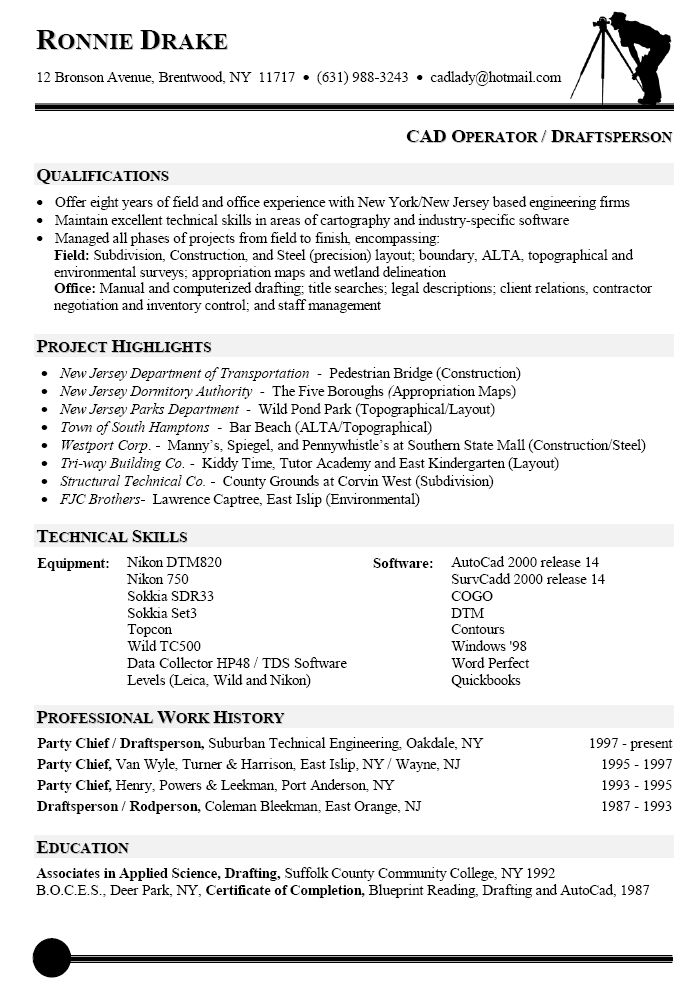 Resume Sample for CAD Operator