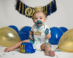 Cake Smash — Jennifer Prisco Photography - Little Prince || Blue and Gold || Boy Cake Smash || Gold Crown || Lace Crown || First Birthday || Smash Session