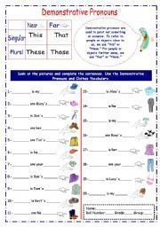 English worksheet: This, That, Those, These (using clothes vocabulary)