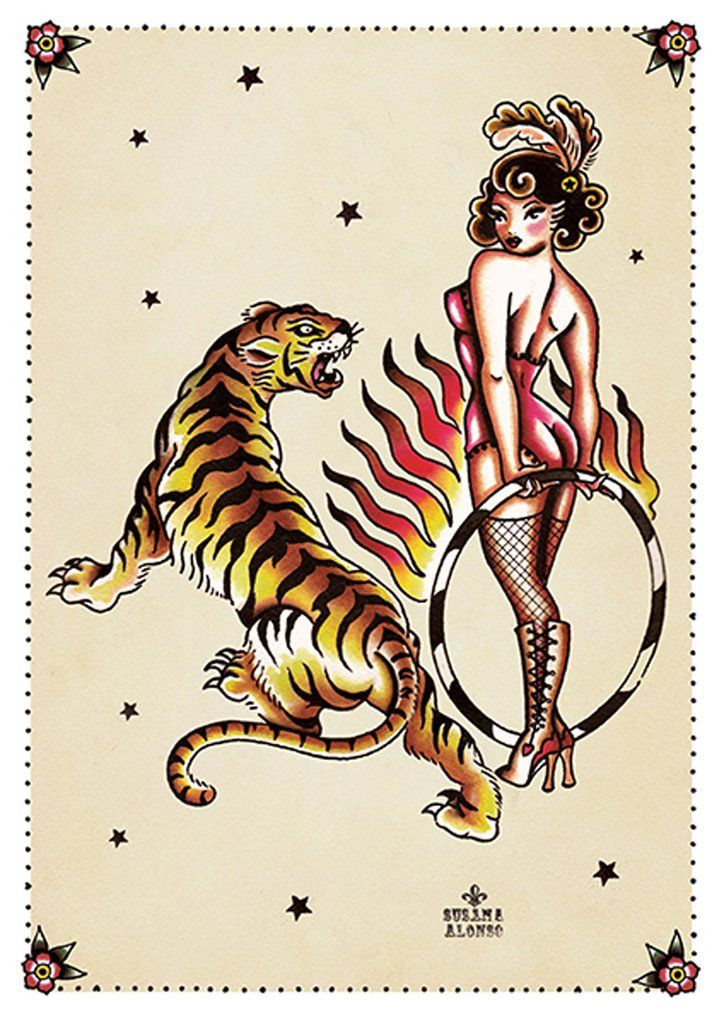 Tiger Tiger by Susana Alonso Pin-Up Girl Tattoo Canvas Art Print – moodswingsonthenet