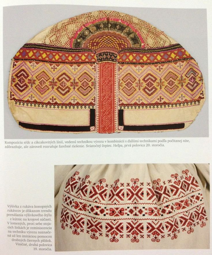 Slovak Folk Embroidery.  top: Helpa (Central)  bottom: Vinicne (West)