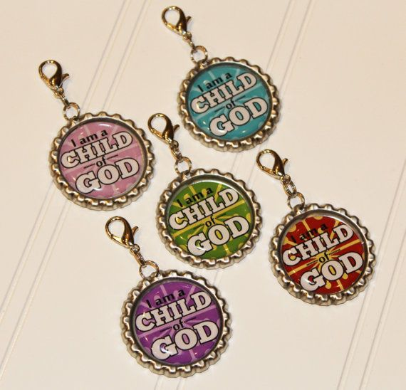 I am a CHILD of GOD Bottlecap Zipper Pull by bowpeepcreations, $3.95 Discount offered to multiple purchases.  Primary birthday baptism graduation christmas gifts children LDS  achievement days activity days