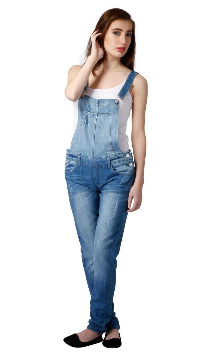 Women's Slim Fit Distressed Lightwash Denim Dungarees from Dungarees-Online. #overalls #dungarees #festivalfashion